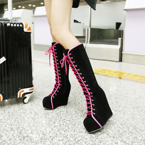 Women-039-s-Zip-Wedge-High-Heel-Lace-up-Knee-High-Boots-Shoes-AU-Plus-Size-2-5-9