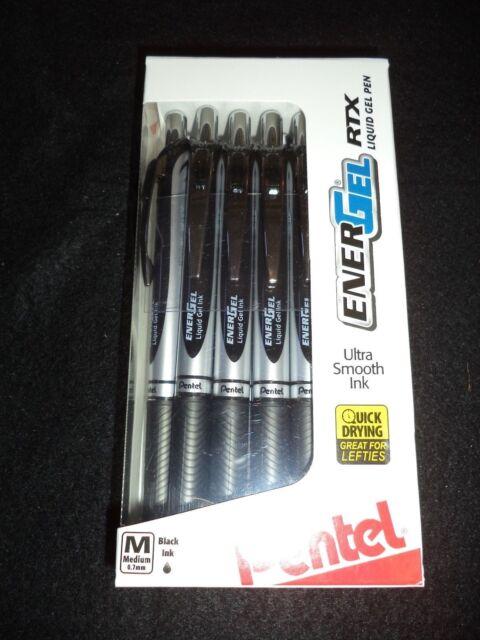 12 Pentel ENERGEL RTX Liquid Gel Pens BLACK  INK X1070 0.7mm MEDIUM M ENER GEL