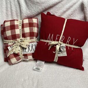 New-Rae-Dunn-MERRY-Throw-Blanket-And-Pillows-Bundle