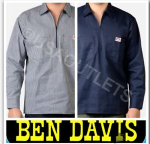 74476e8956 Image is loading BEN-DAVIS-LONG-SLEEVE-HALF-ZIPPER-SHIRTS-SOLID-