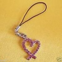 "Pink Ribbon hollow HEART Crystal CELL PHONE 1"" CHARM key chain cord STRAP New"
