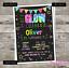 UV Neon Glow Disco Invitations for Birthday Party Invites Personalised