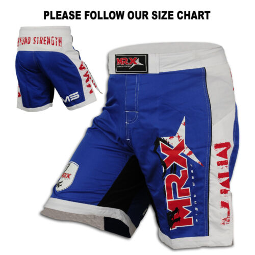 MMA Grappling Shorts Boxing Fight Short UFC Blood Cage Martial arts Blue//White