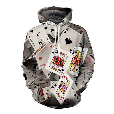 Women Men 3D Print Playing Card Heart King Sweatshirt Hoodies Casual Pullover