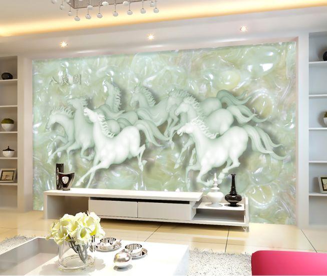 3D cavallo bianco Parete Murale Foto Carta da parati immagine sfondo muro stampa