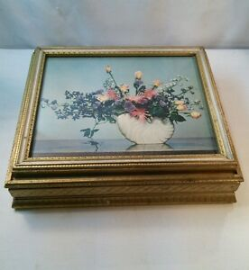Vtg Wood Mid Century Jewelry Trinket Stash Box Picture Vase Flowers