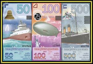 Lot SET de 3 New Jason Islands 50 100 500 Australes 2012 Billet Polymère Titanic