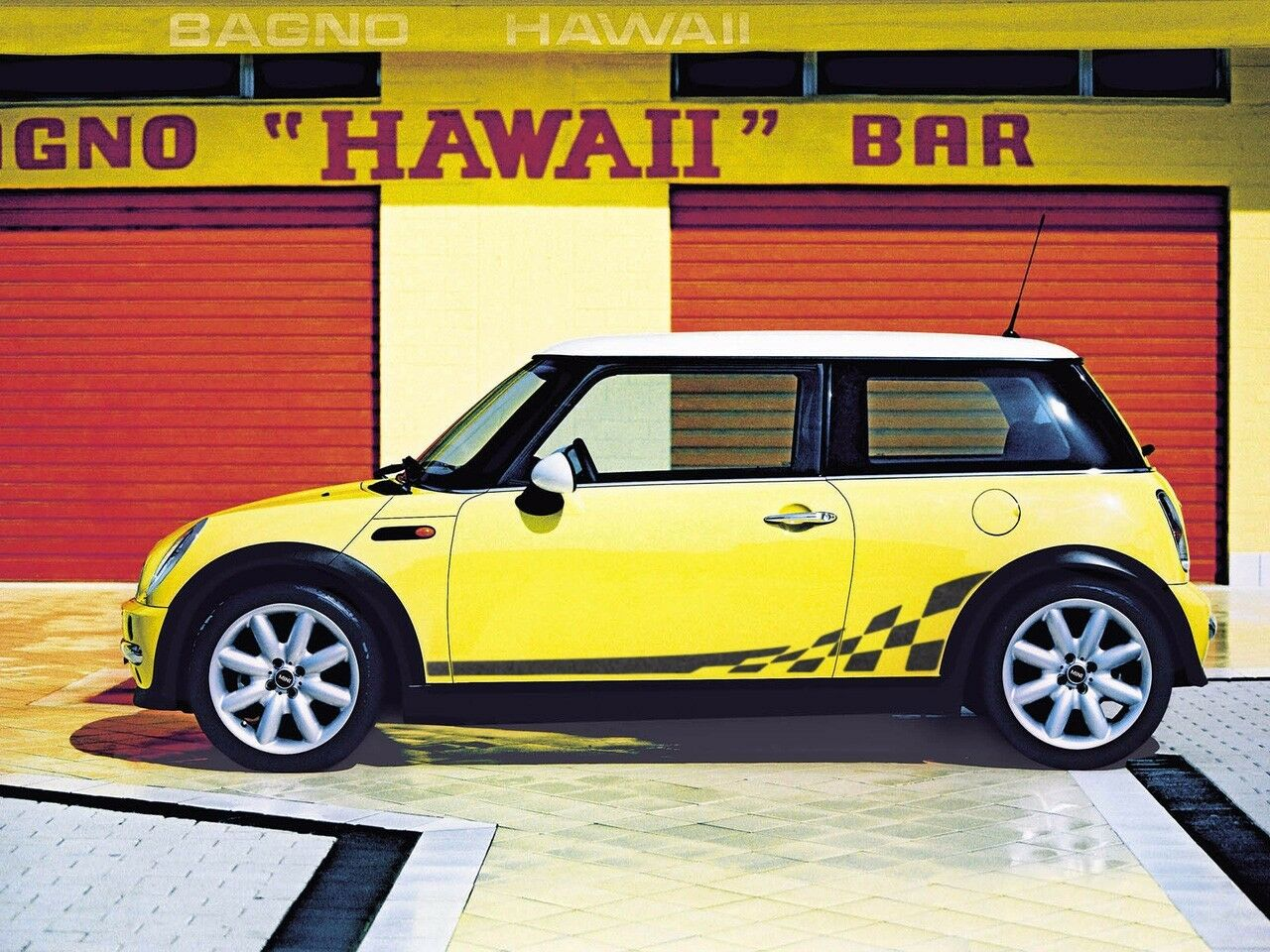 mini cooper r50 r53 checkered flag side stripes graphics. Black Bedroom Furniture Sets. Home Design Ideas