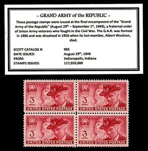1949-GRAND-ARMY-of-the-REPUBLIC-GAR-Mint-Block-of-4-Vintage-Postage-Stamps