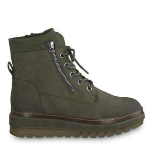 Details zu Tamaris 1 1 25223 23 757 Schuhe Damen Schnürboots Stiefeletten Boots olive grün