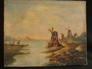ancien-tableau-huile-sur-toile-paysage-aux-moulins-Hollande-Louis-Mathey-1893