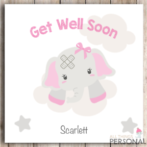 Details about Personalised Get Well Soon Card Cute Girls For Her Speedy  Recovery Operation