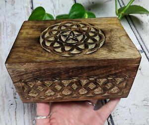 Celtic Pentagram Wooden Box Tarot Altar Reiki Charged *Read Below*