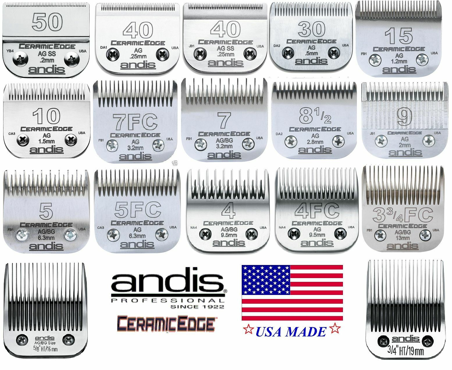 ANDIS CeramicEdge Steel&CERAMIC BLADE*Fit AG,BG,AGC Oster A5 A6,Wahl KM Clippers