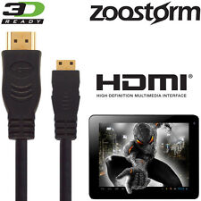 Zoostorm SL8 Mini, Playtab Q6010 Tablet PC HDMI Mini to TV 3m Wire Lead Cable