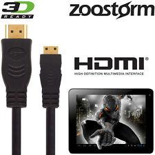 Zoostorm SL8 Mini, Playtab Q6010 Tablet PC HDMI Mini to TV 3m Wire Lead Cable