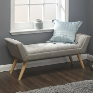 Shabby Chic Hallway Bench Furniture Bedroom Ottoman Tufted Seat Wooden Legs New 689784074225 Ebay