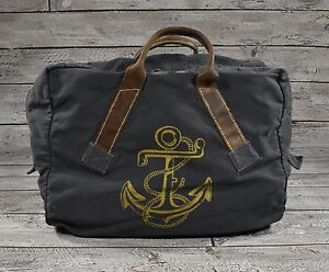 87812a144056 Image is loading Ralph-Lauren-RRL-Distressed-Canvas-Leather-Nautical-Anchor-