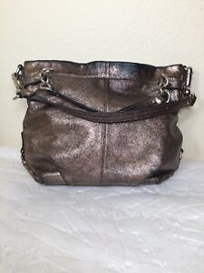 2fc0f746f7a Image is loading Coach-Brooke-Metallic-Pewter-Leather-Chain-Hobo-Shoulder-