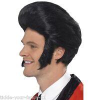 Mens 50's Quiff King Wig 60's 70's Elvis Rock n Roll Retro Fancy Dress Grease
