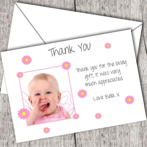 Announcement//Christening Baby Girl D28 Personalised PHOTO Thank You Cards
