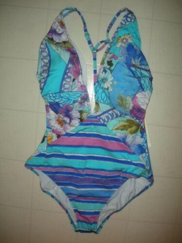 GOTTEX Multicolor Samosir 1 Pc V Neck Plunge Halter Swimsuit Sz 12 NWT