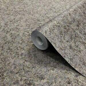 Details About Wallpaper Plain Textured Wall Coverings Modern Gray Gold Charcoal Metallic Rolls