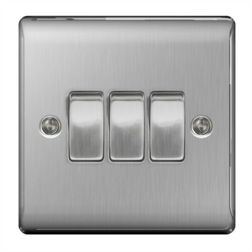 Bg Brushed Steel 10ax Plate Switch 2way, 3gang