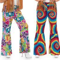 Ladies 1960s Hippy Hippie Flares Trousers Fancy Dress Costume 8-26 Plus Size