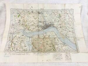 1940 WW2 Militare Mappa Di Kingston Upon Hull Humberside Humber Burton Constable