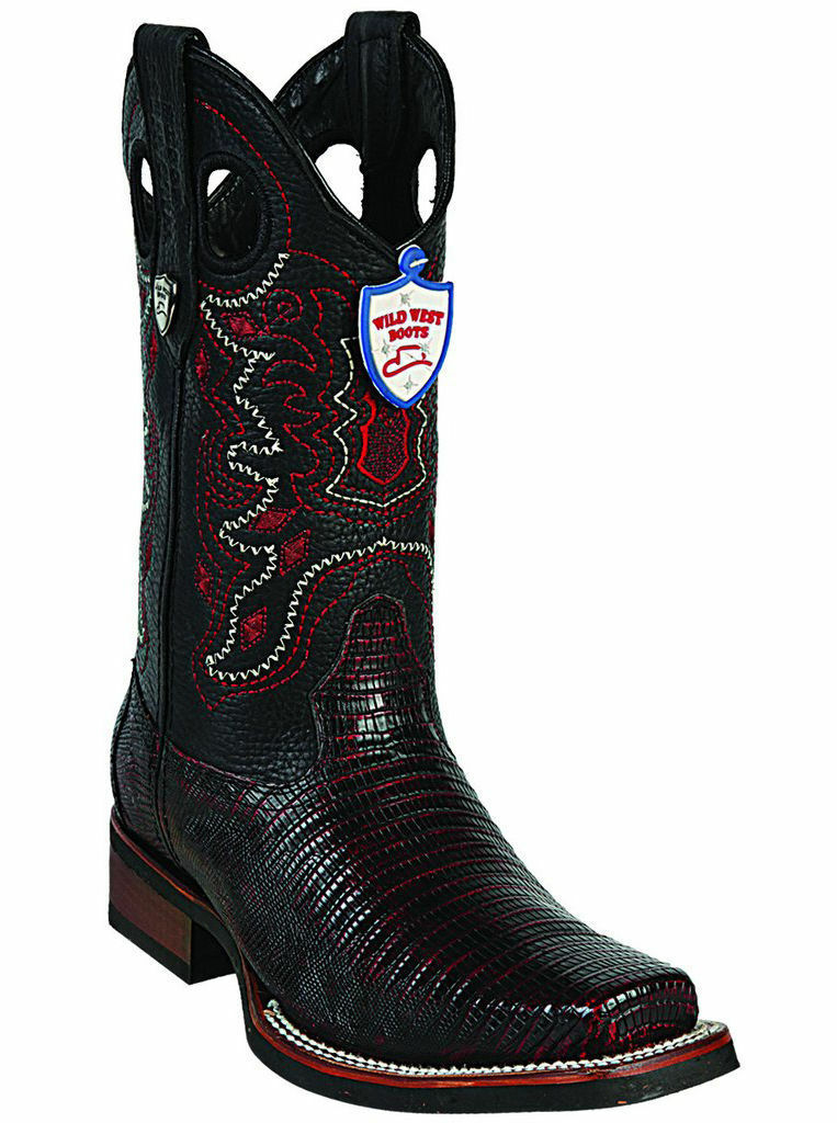 WILD WEST CHERRY GENUINE LIZARD COWBOY avvio RODEO-SQUARE-TOE RUBBER SOLE (EE+)