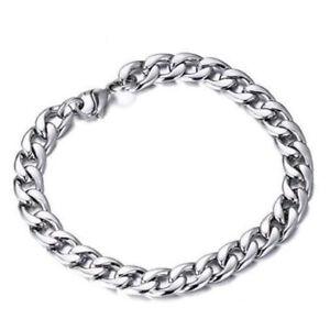 Mens-Women-Silver-Stainless-Steel-Bracelet-Wristband-Bangle-Cuff-Chain-Jewelry
