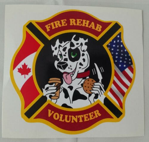 USA Fire Rehab Volunteer Sticky Back Decal ** NEWLY RELEASED ** Canada