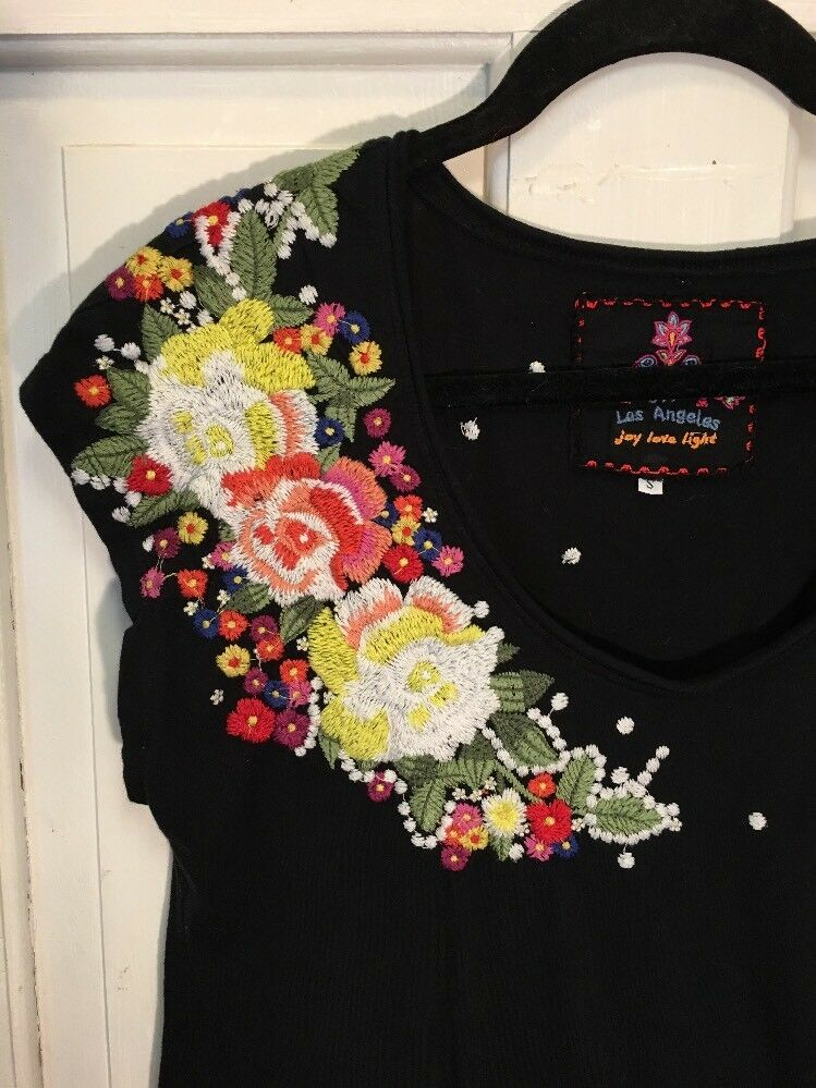 Johnny Johnny Johnny Was Tunic Dress Embroidered Floral Flawless S cc08a6