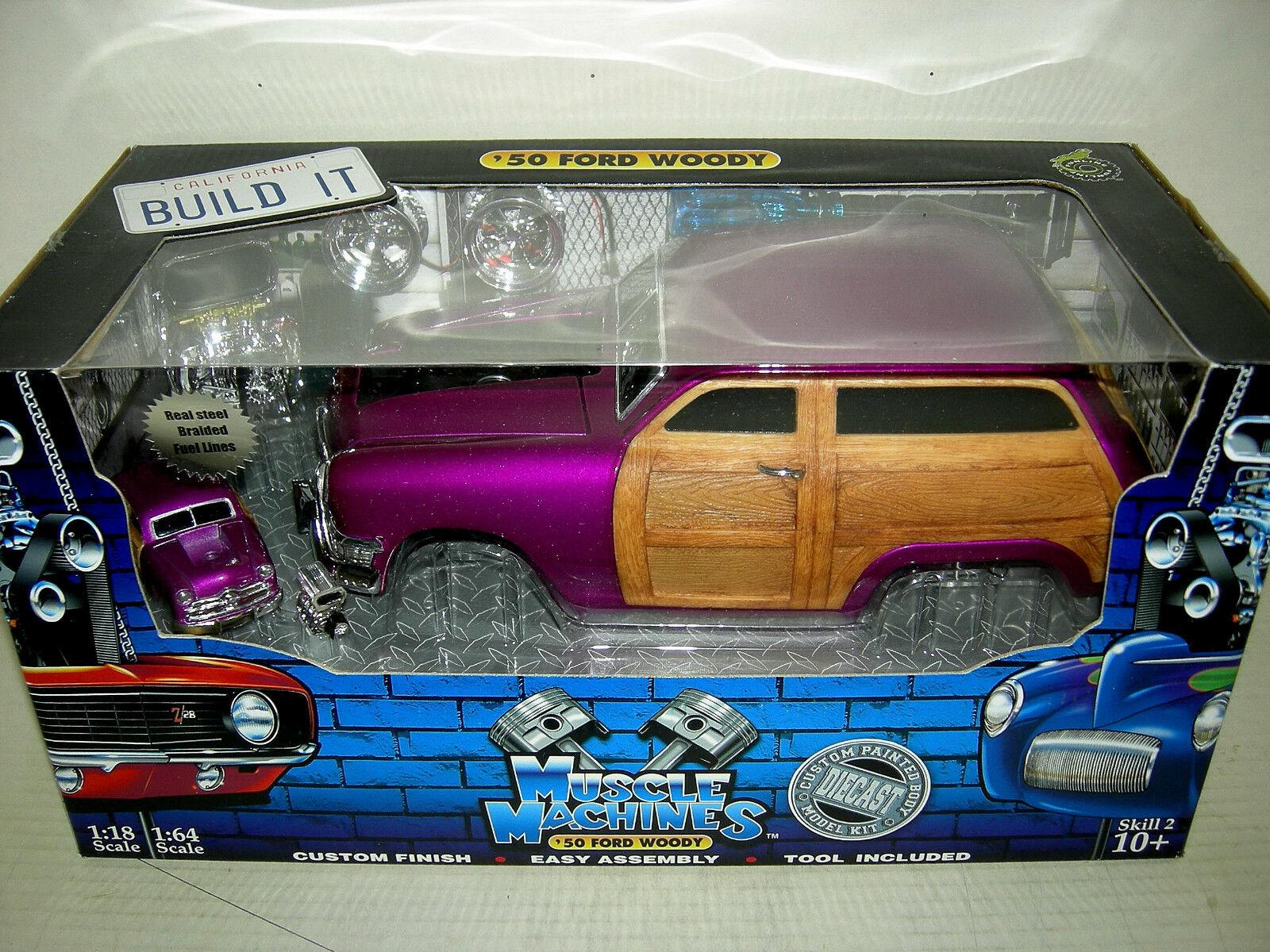 precios mas bajos 50 Ford Woody en Púrpura construirlo kit kit kit completo. máquina de músculo MIB 1 18  despacho de tienda