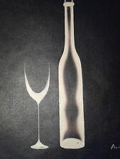 Peinture à l'Huile sur Toile - Bouteille de Vin Noir Blanc Minimaliste Original