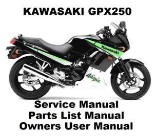 gpx250 ninja owners workshop service repair parts manual pdf on cd rh ebay com Kawasaki Ninja ZX-14 kawasaki gpx 250 service manual