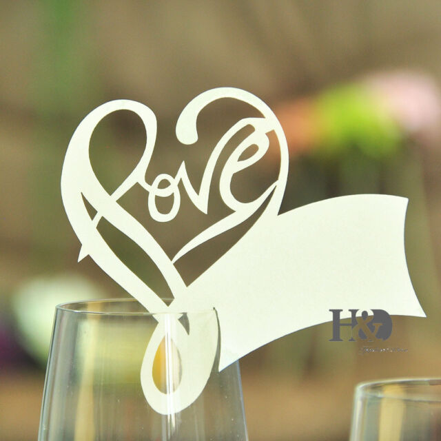 Ivory Paperboard Love Shape Glass Place Name Cards Wedding Party Decor 36pcs