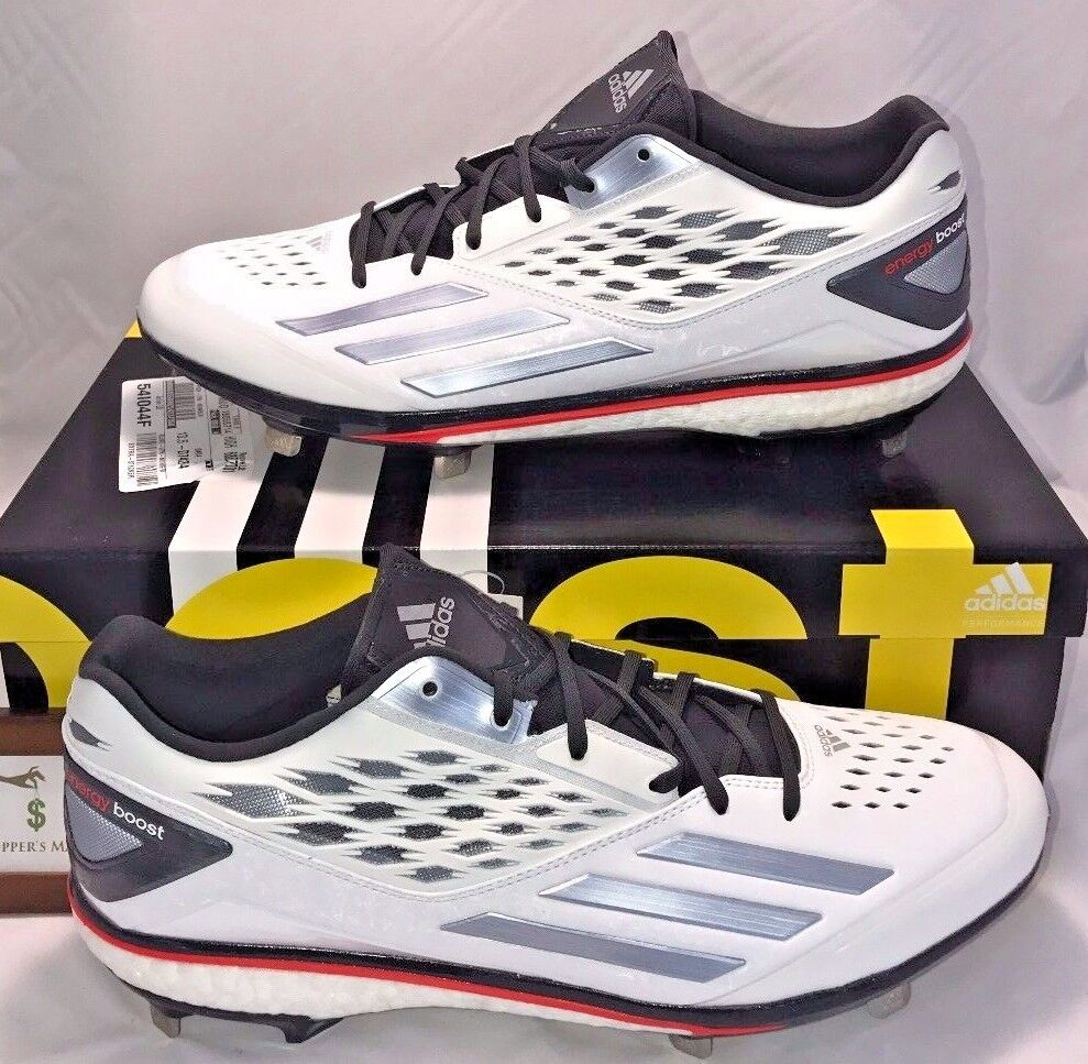ADIDAS MENS SIZE 13.5 ENERGY BOOST ICON BASEBALL CLEATS METAL WHITE BLACK RED