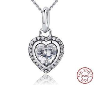 Luxus-Herz-Anhaenger-Kette-Echt-925-Silber-Halskette-Zirkonia-Kristall-Geschenk