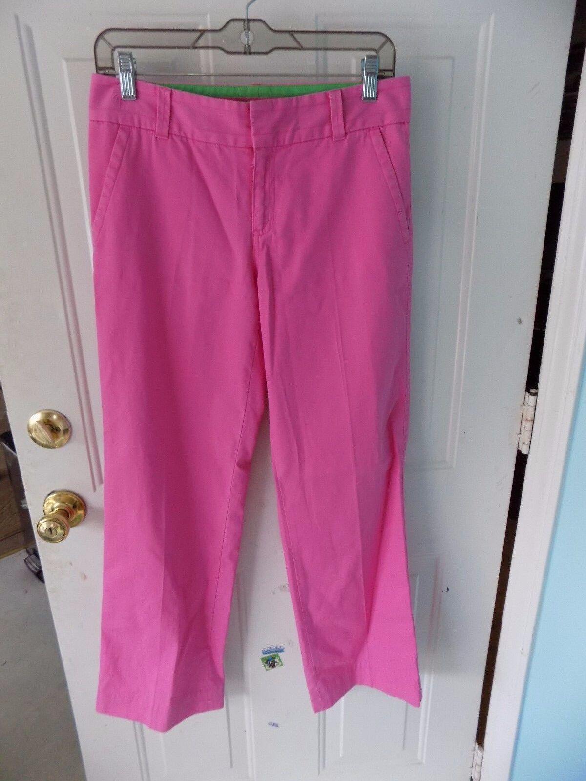 LILLY PULITZER Hot Pink Flat Front Cotton Dress Pants PALM BEACH SIZE 2 EUC