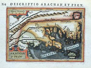 BURMA-MYANMAR-ARACHAN-amp-PEGU-BERTIUS-original-antique-miniature-map-1618