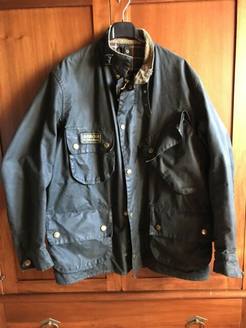 barbour international  giacca jacket waxed cotton Taglia XL rincerato