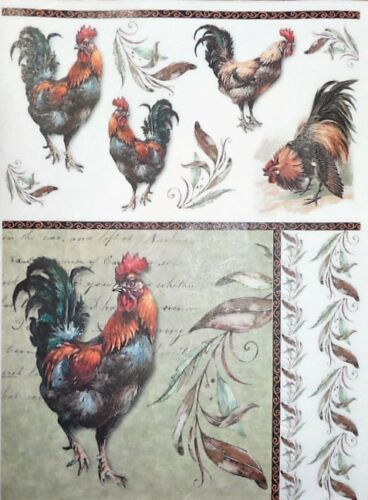 Rice Paper Roosters Leaves Decoupage Scrapbook and Crafting Sheet 133