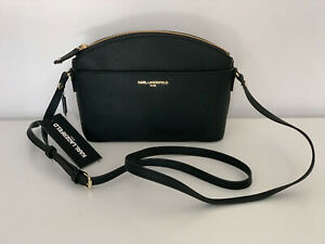 NEW-KARL-LAGERFELD-BLACK-GOLD-SAFFIANO-LEATHER-CROSSBODY-SLING-CAMERA-BAG-128
