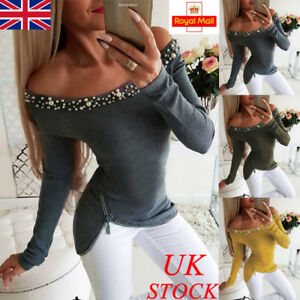 UK-Womens-Beading-Off-Shoulder-Long-Sleeve-T-Shirt-Ladies-Casual-Blouse-Tops-Tee
