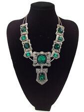 Zara Hermosa Esmeralda Verde Facetado Cristal Strass Collar – Nuevo