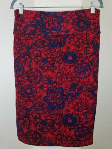 a Gonna media rosso tubino Lularoe a femminile fiori blu di lunghezza H7WwFqd7p