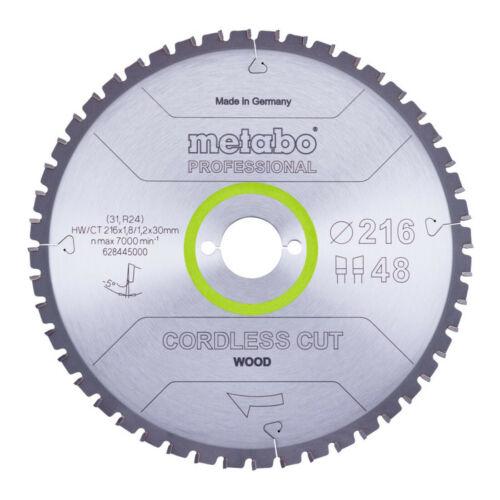 Metabo Sägeblatt cordless cut wood   professional 216x1,8 1,2x30 Z48 WZ 5°neg