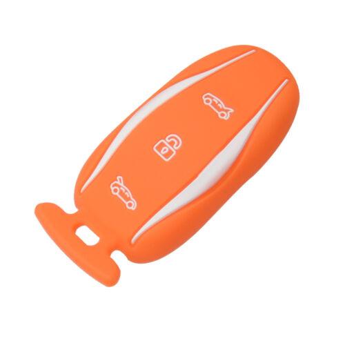 Silicone Car Key Case key cover Protective Case Orange for Tesla Model S